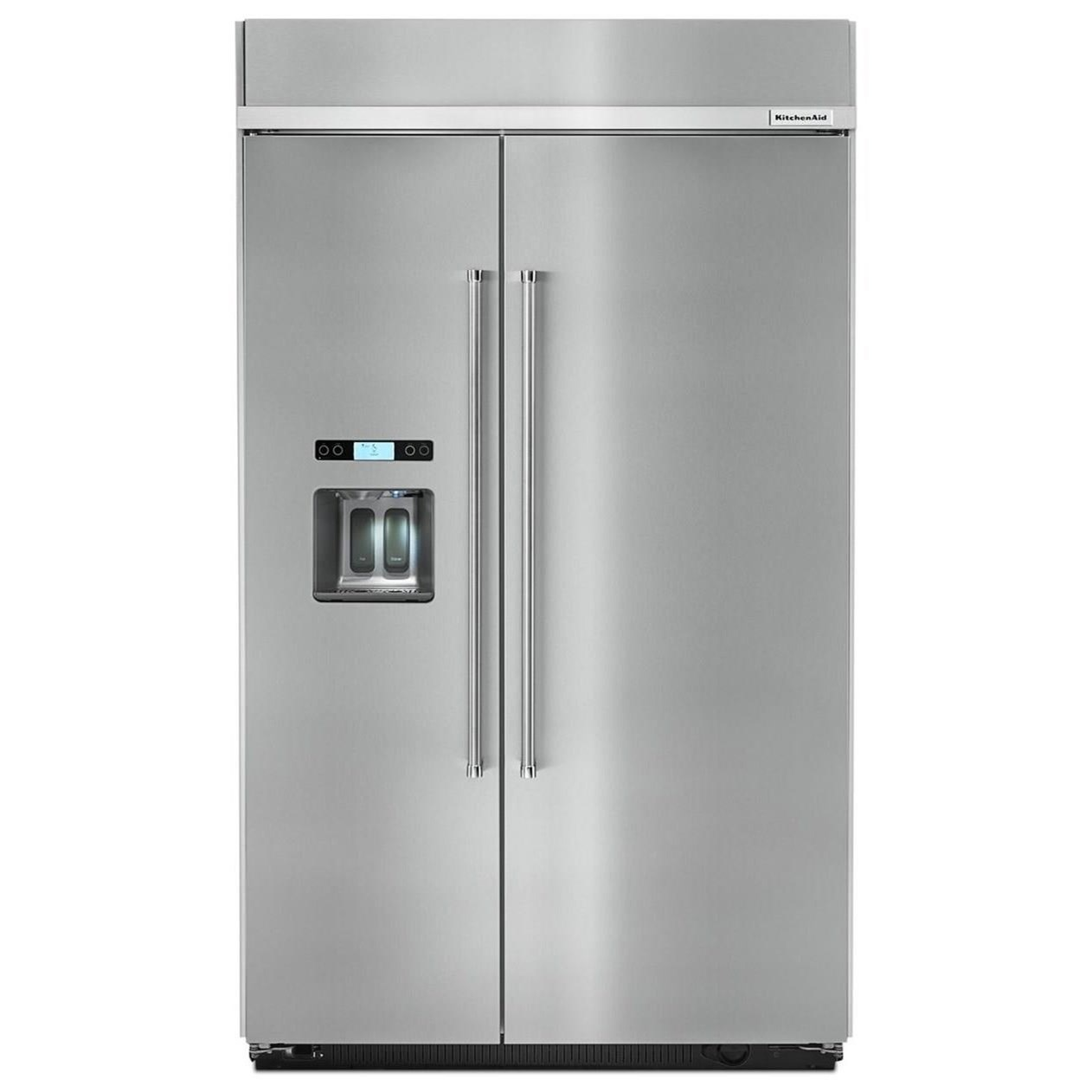 """KitchenAid Side-by-Side Refrigerator 29.5 cu. ft 48"""" Built-In Side by Side Fridge by KitchenAid at Furniture and ApplianceMart"""
