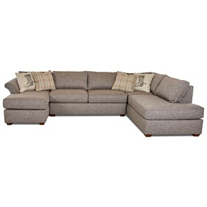 Three Piece Sectional Sofa with Flared Arms and RAF Sofa Chaise