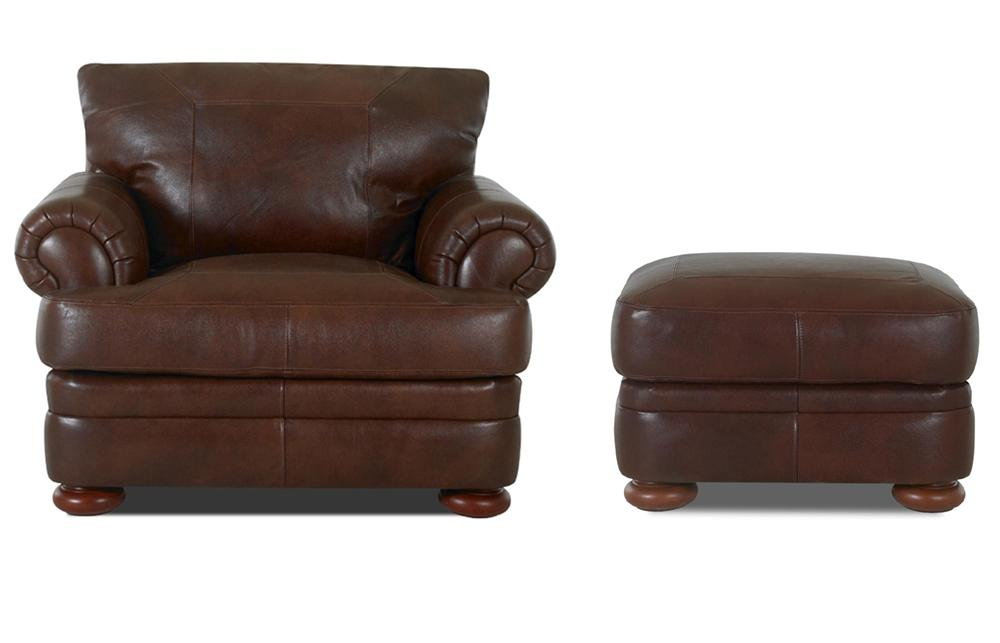 Montezuma Chair and Ottoman by Klaussner at Northeast Factory Direct