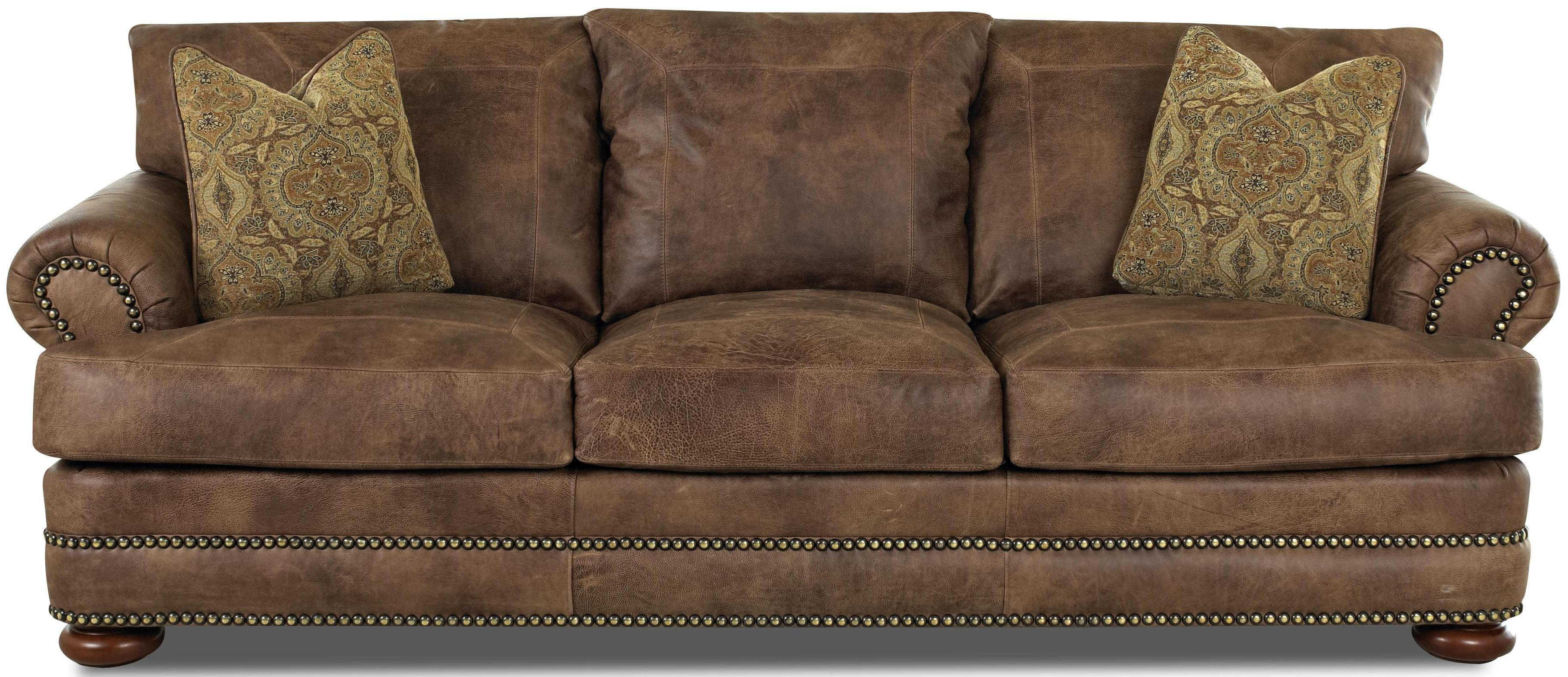 Montezuma Leather Sofa by Klaussner at Rooms for Less
