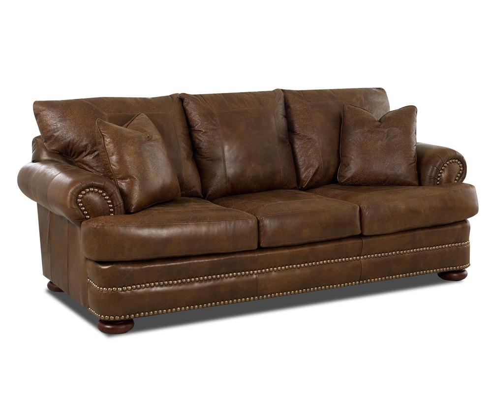 Montezuma Leather Studio Sofa by Klaussner at Godby Home Furnishings
