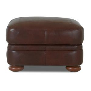 Leather Ottoman with Bun Feet