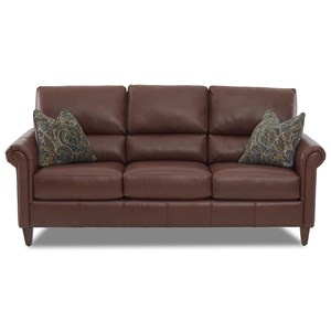 Transitional Leather Sofa with Pub Back and Pillows