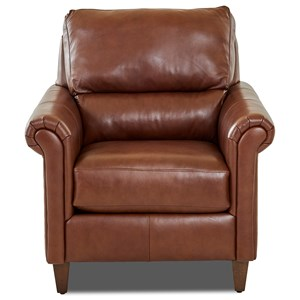 Transitional Leather Chair with Pub Back