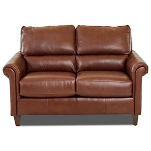 Transitional Leather Loveseat with Pub Back