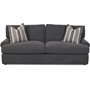 Casual Sofa with Rolled Arms and 2 Throw Pillows