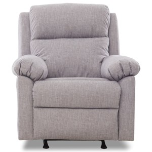 Casual Pillow Padded Power Rocker Recliner with Power Headrest
