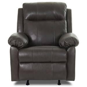 Casual Pillow Padded Power Rocker Recliner with Power Adjustable Headrest and Lumbar