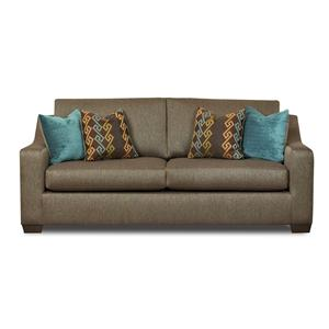 Contemporary Sofa with Sloped Arms and Loose Back Cushions