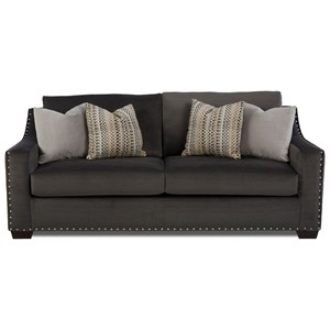 Contemporary Sofa with Sloped Arms and Nailheads