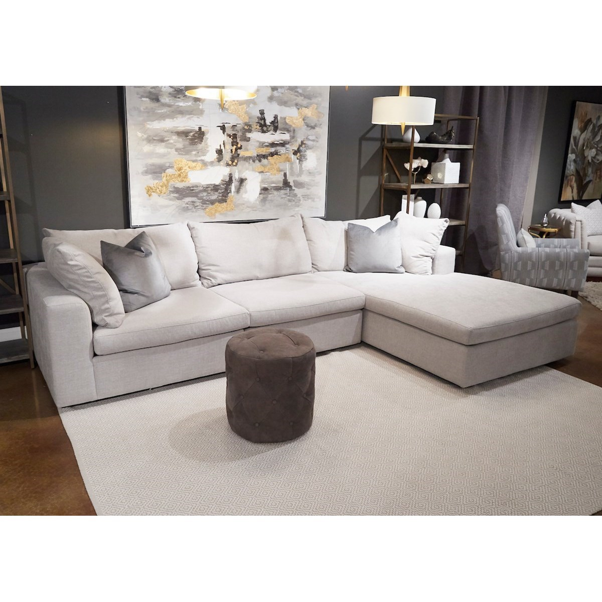 Arnell 3-Seat Sectional Sofa w/ RAF Chaise by Klaussner at H.L. Stephens