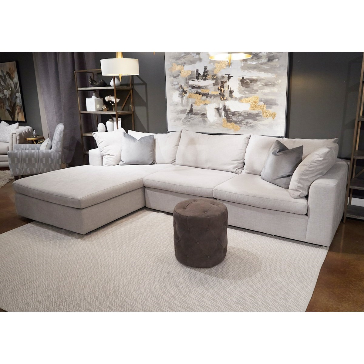 Arnell 3-Seat Sectional Sofa w/ LAF Chaise by Klaussner at Johnny Janosik