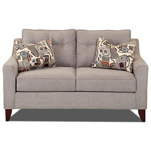 Mid-Century Modern Style Loveseat with Tufted Cushions