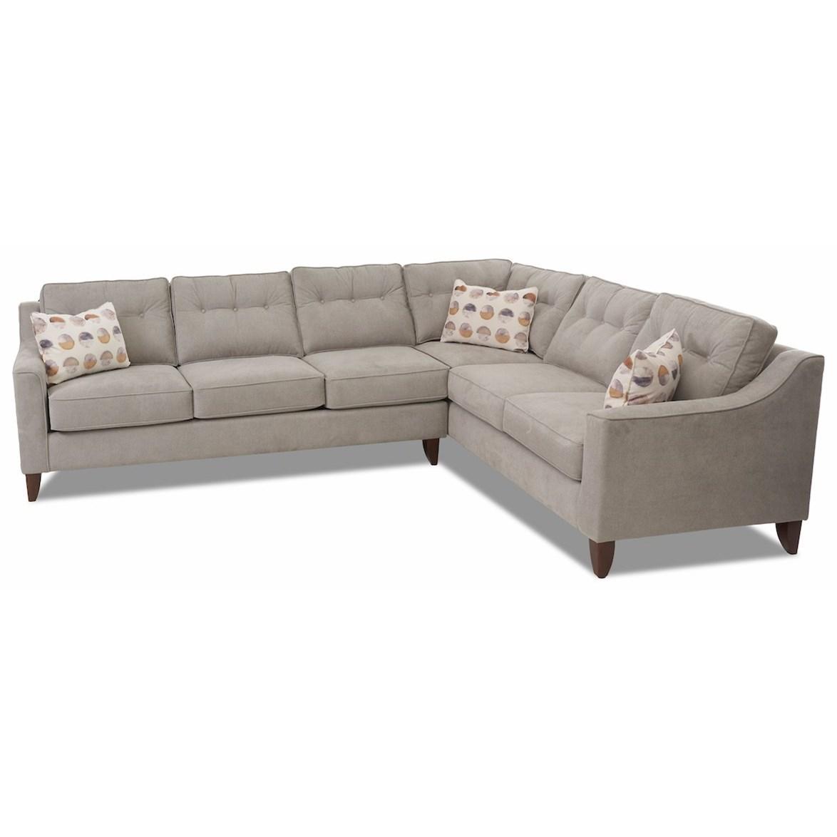 Audrina 2-Piece Sectional Sofa w/ RAF Corner Sofa by Klaussner at Pilgrim Furniture City