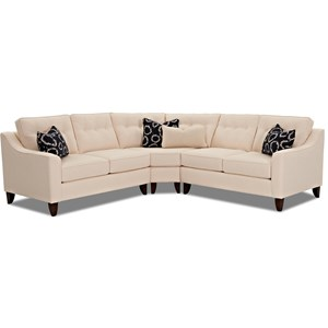 Klaussner Audrina 3 Piece Sectional with Wedge