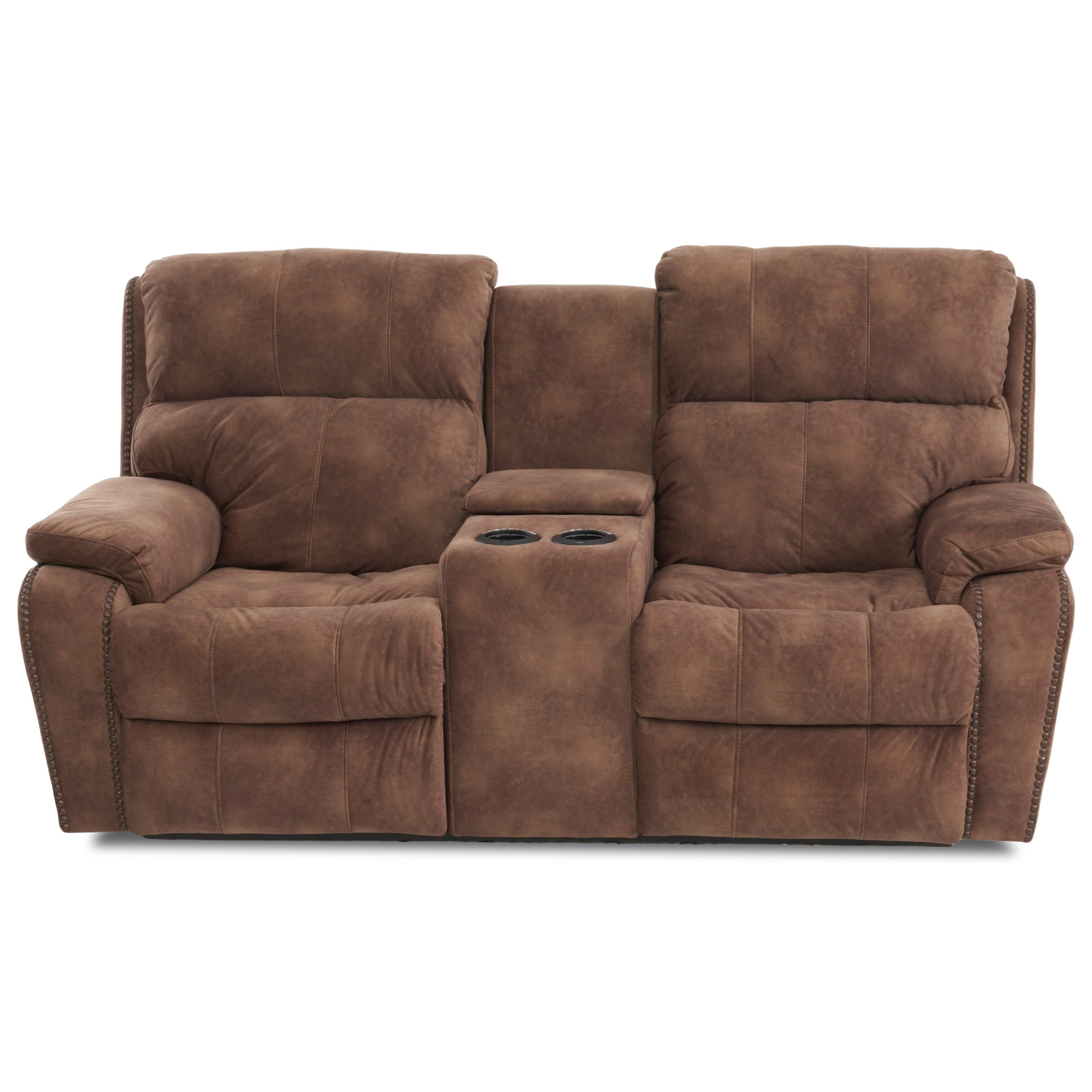 Averett Power Recline LS w/ Console w/Nails w/ Pwr H by Klaussner at Lapeer Furniture & Mattress Center