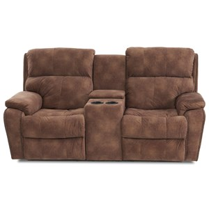 Casual Console Power Reclining Loveseat with Nails, Power Headrests & Lumbar, USB Charging Ports