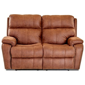Casual Power Reclining Loveseat with Nails and USB Charging Ports