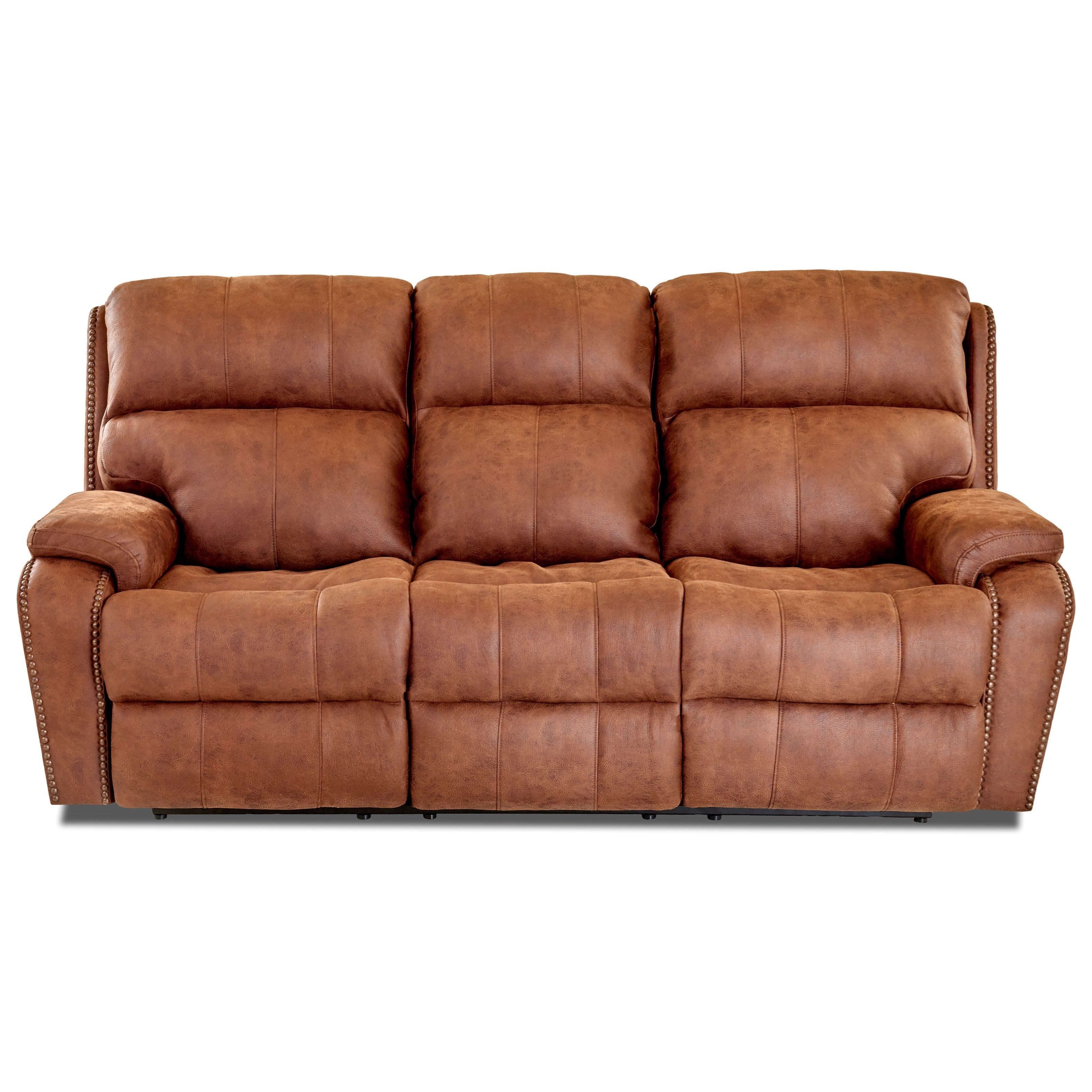 Averett Reclining Sofa w/ Nails by Klaussner at Lapeer Furniture & Mattress Center