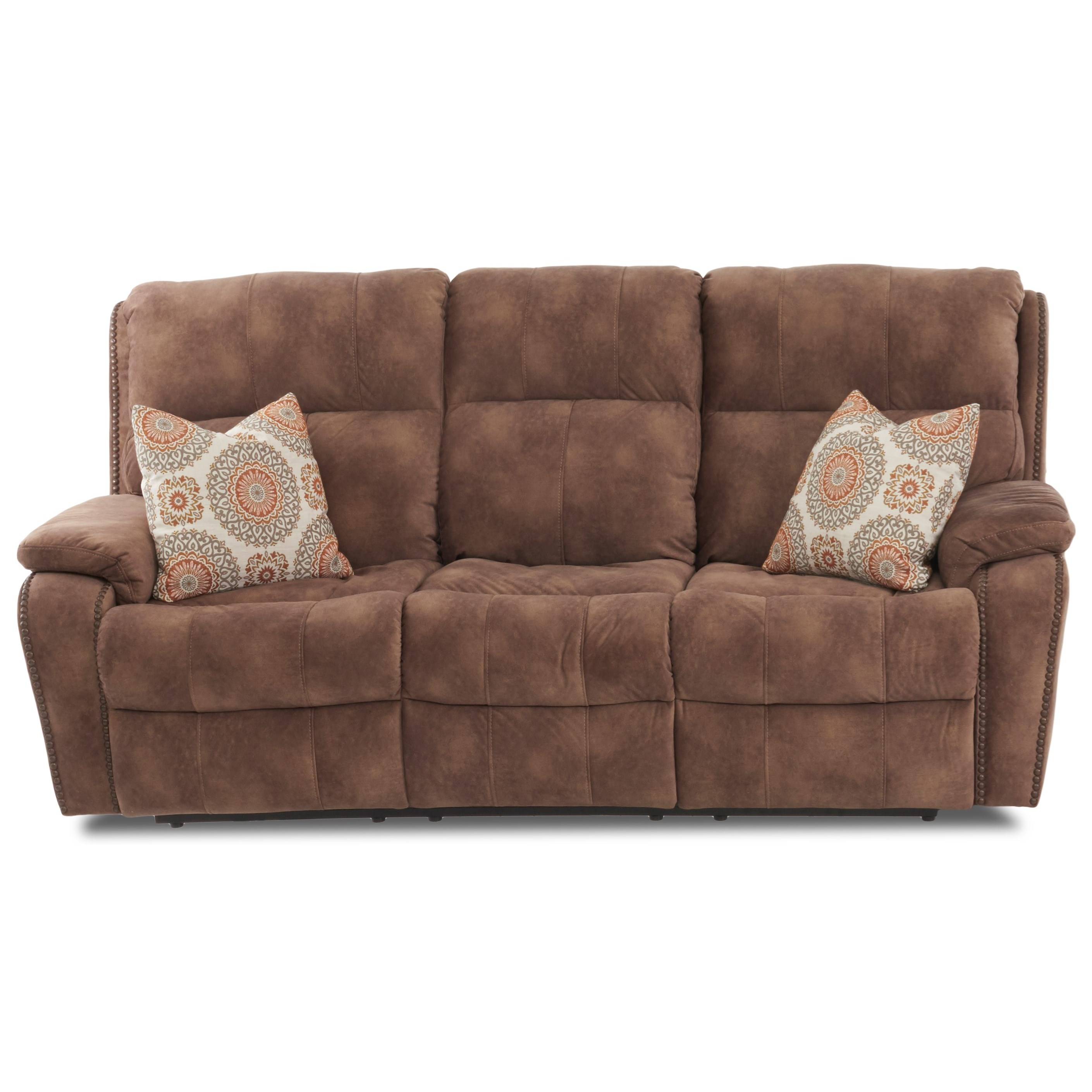 Averett Reclining Sofa w/ Nails & Pillows by Klaussner at H.L. Stephens