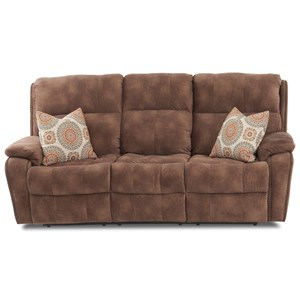 Casual Power Reclining Sofa with Nails, USB Charging Ports, Toss Pillows