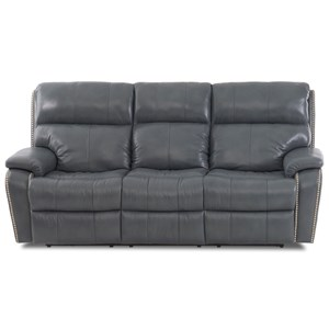 Casual Power Reclining Sofa with Nails, Power Headrests, USB Charging Ports