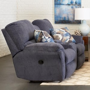 Casual Reclining Loveseat with Cupholder Storage Console and Pillows