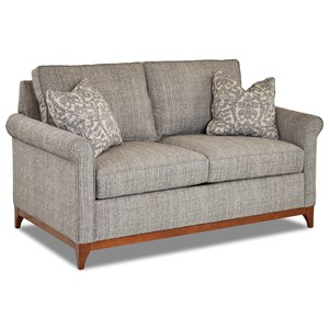 Transitional Loveseat with Exposed Wood Trim