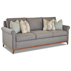 Transitional Sofa with Exposed Wood Trim