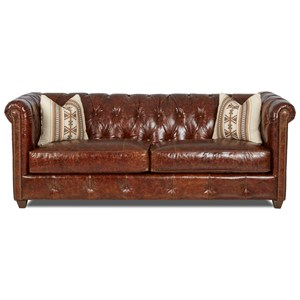 Traditional Chesterfield Sofa with Down Blend Cushions & Nailheads