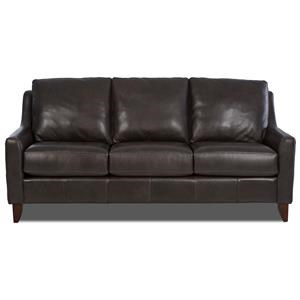 Casual Leather Sofa w/ Track Arms