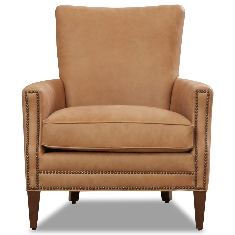 Bergdorf Leather Chair with Nailhead Trim by Klaussner at Northeast Factory Direct