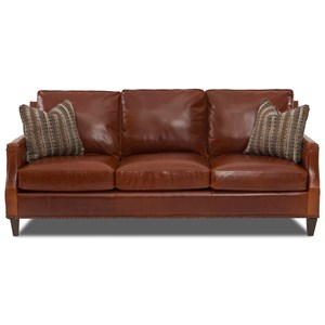 Transitional Leather Sofa with Nailhead Studs and Toss Pillows