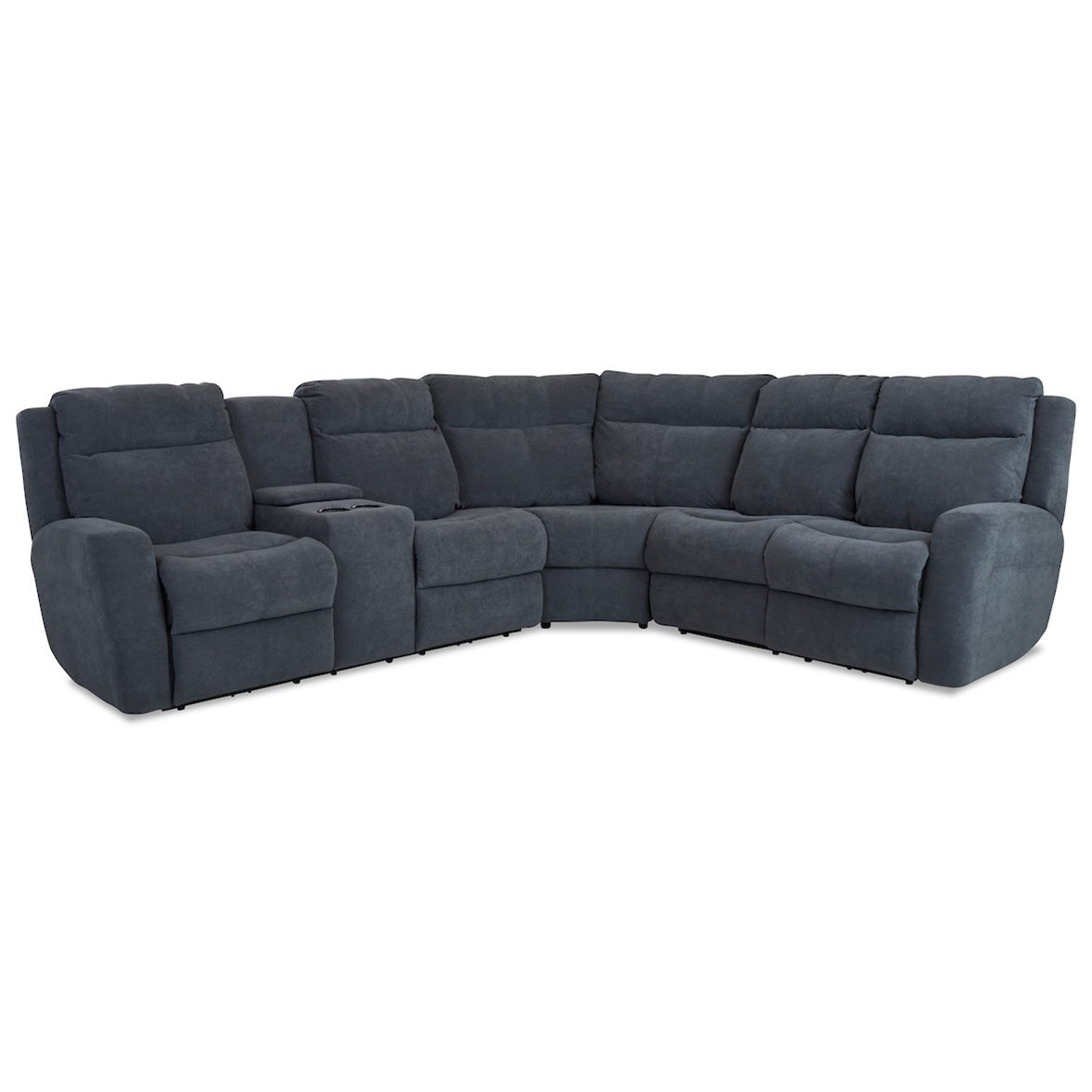 Brooks 4-Seat PowerRecline Sectional w/ LAF Console by Klaussner at Godby Home Furnishings
