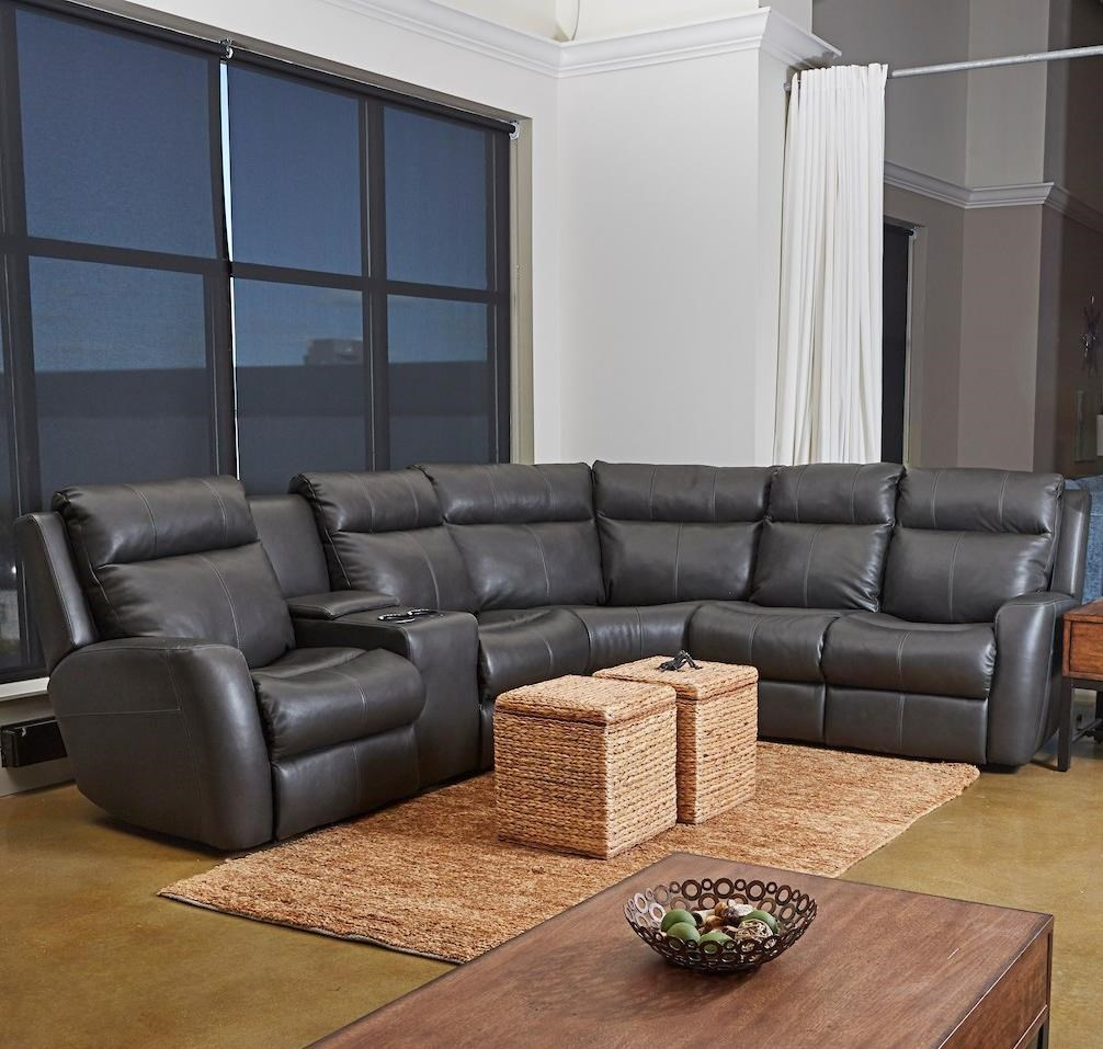 Brooks 4-Seat Reclining Sectional w/ LAF Console by Klaussner at Northeast Factory Direct