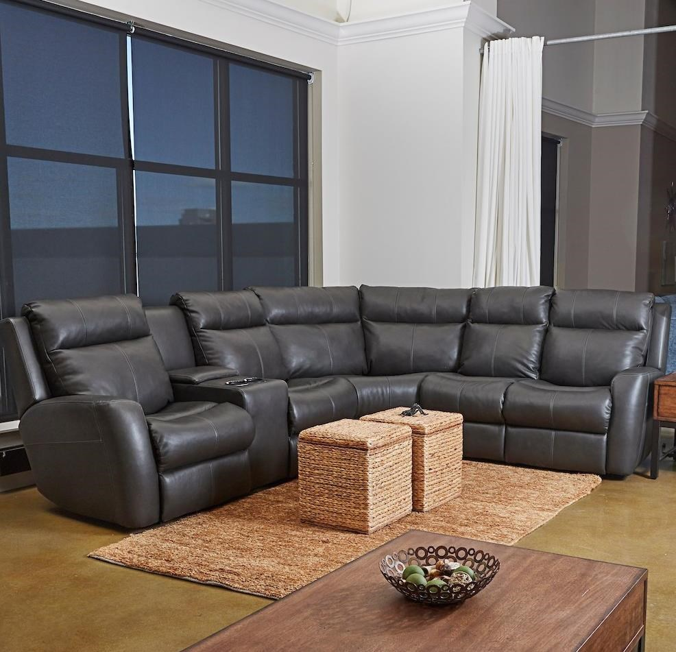 Brooks 4-Seat PowerRecline Sectional w/ LAF Console by Klaussner at Johnny Janosik