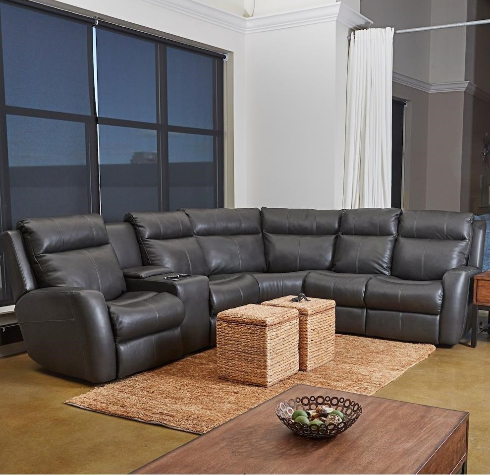 Brooks 4-Seat PowerRecline Sectional w/ LAF Console by Klaussner at Northeast Factory Direct