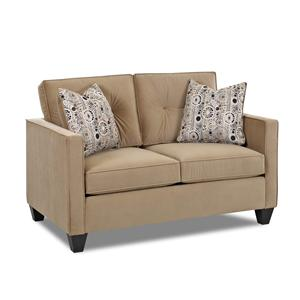 Contemporary Loveseat with Track Arms, Button Tufted Seat Back Cushions and Welt Trim