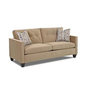 Contemporary Stationary Sofa with Track Arms, Button Tufted Seat Back Cushions and Welt Trim