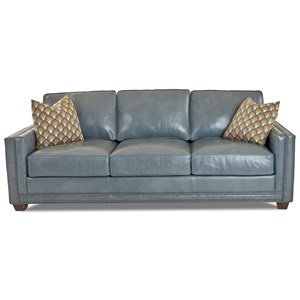Transitional Sofa with Nailheads and Arm Pillows