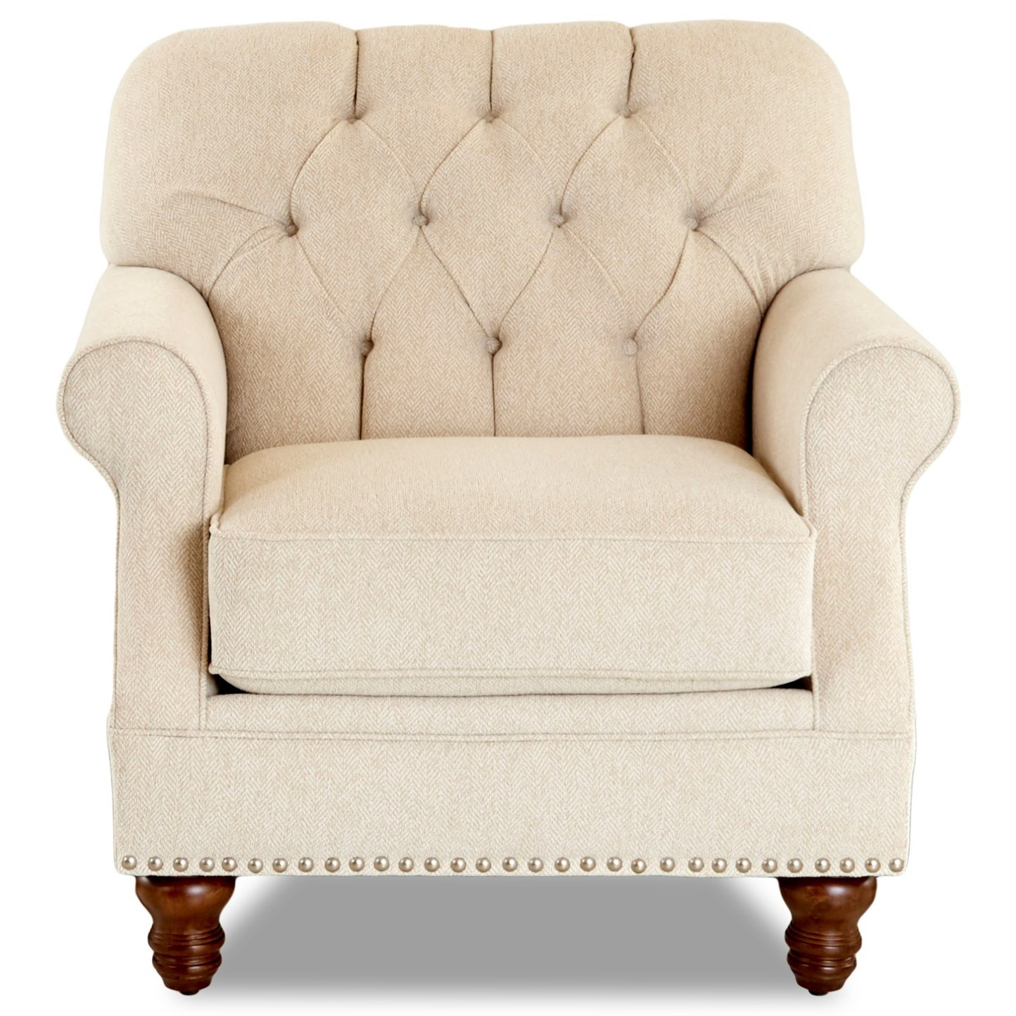 Burbank Chair w/ Nailheads by Klaussner at Johnny Janosik