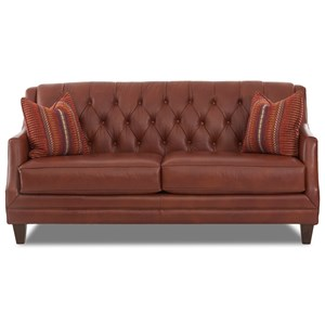 Traditional Tufted Sofa with Fabric Toss Pillows