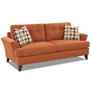 Contemporary Sofa with Tufted Back and Flared Arms