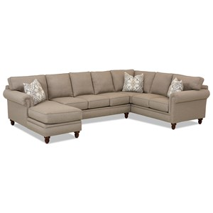 Three Piece Sectional Sofa w/ LAF Chaise and Nailhead Trim