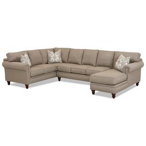 Three Piece Sectional Sofa w/ RAF Chaise and Nailhead Trim