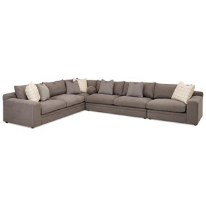 Casual Four Piece Sectional Sofa with RAF Chair