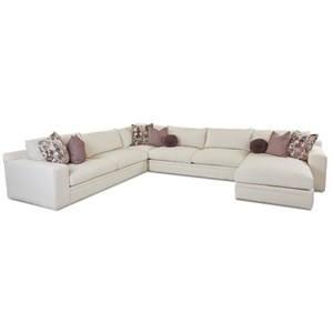 Casual Four Piece Sectional Sofa with RAF Chaise
