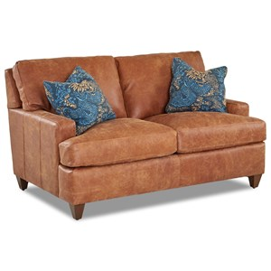 Contemporary Leather Loveseat with Arm Pillows