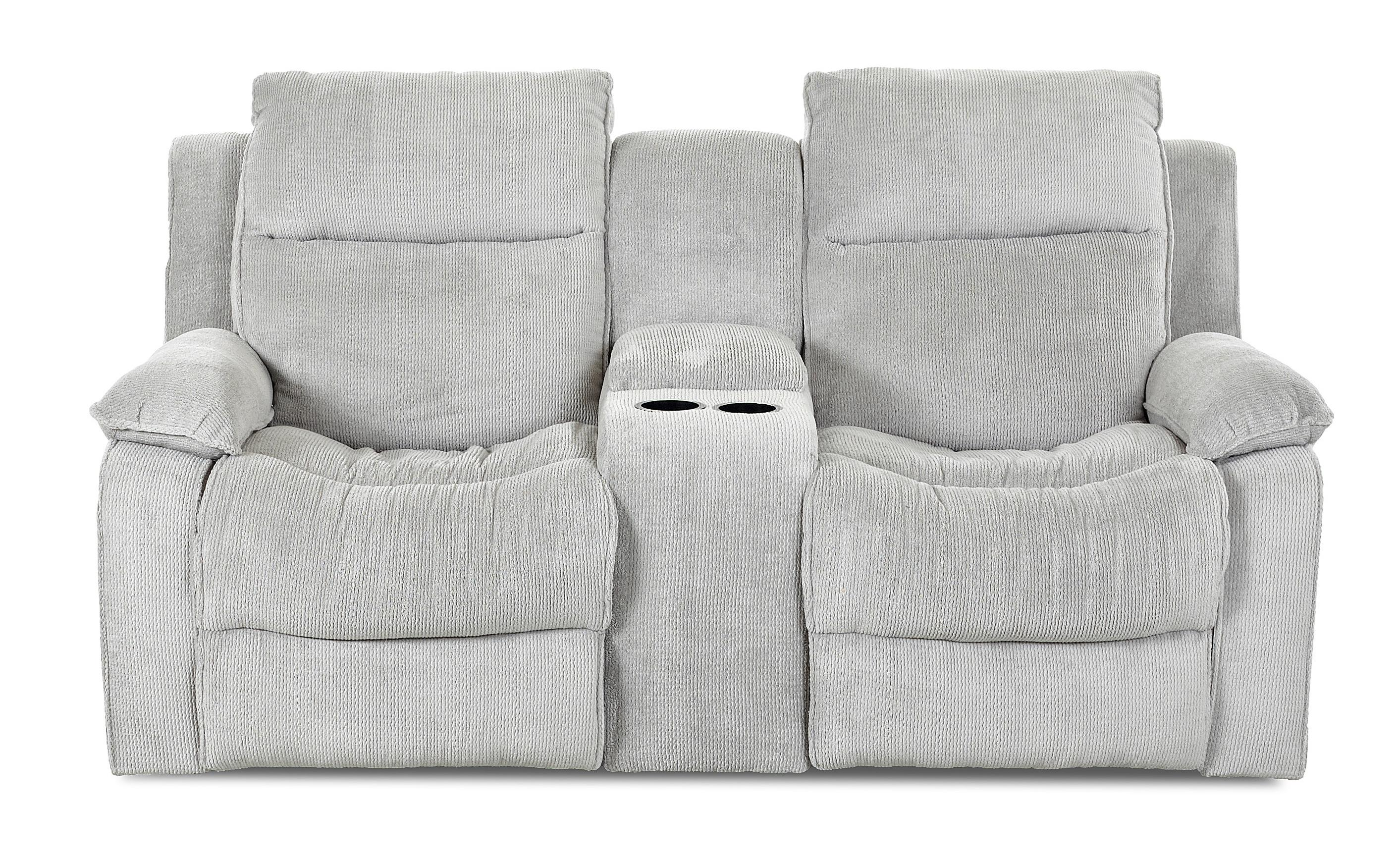 Castaway Casual Reclining Loveseat with Console by Klaussner at Rooms for Less