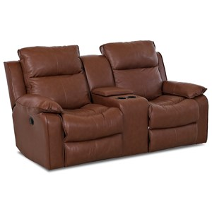 Casual Power Reclining Console Loveseat with Storage and Cupholders